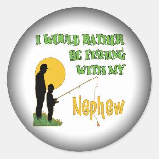 Fishing With My Nephew Round Sticker