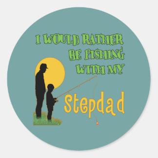 Fishing With My Stepdad Round Sticker