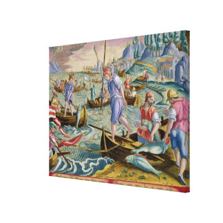 Fishing with Nets and Tridents in the Bay of Naple Canvas Print