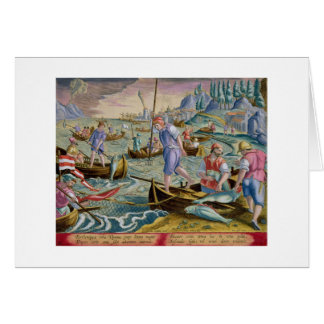 Fishing with Nets and Tridents in the Bay of Naple Greeting Cards