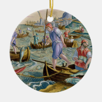 Fishing with Nets and Tridents in the Bay of Naple Round Ceramic Decoration