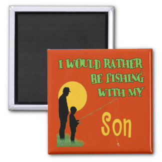 Fishing With Son Square Magnet