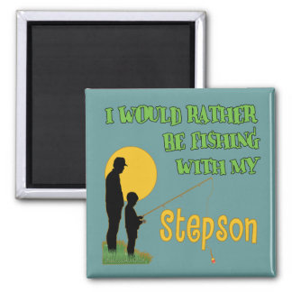 Fishing With Stepson Square Magnet