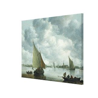 Fishingboat in an Estuary, 1655 Canvas Print