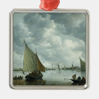 Fishingboat in an Estuary, 1655 Silver-Colored Square Decoration
