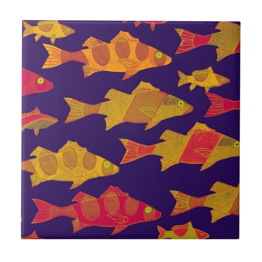 FISHY FISH 3 SMALL SQUARE TILE