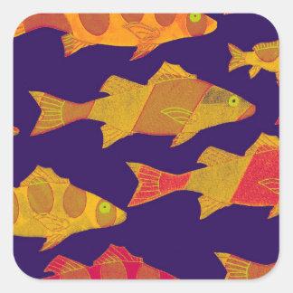 FISHY FISH 3 SQUARE STICKER