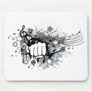 Fist and music on  mouse mat