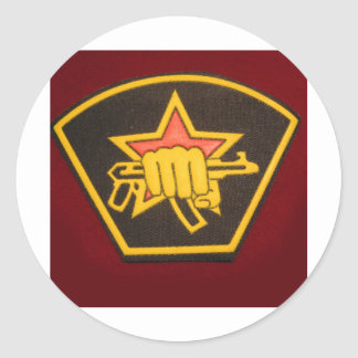 fist and red star classic round sticker