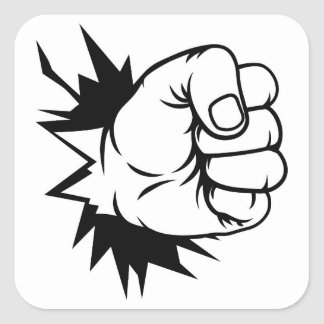 Fist Hand Punching Through Wall Square Sticker