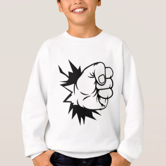 Fist Hand Punching Through Wall Sweatshirt