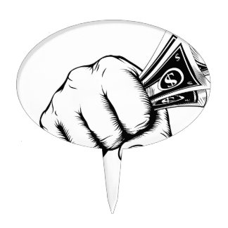 Fist holding money concept cake toppers