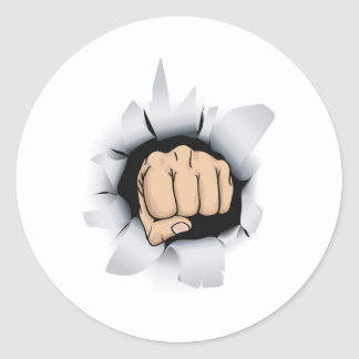 fist illustration round sticker