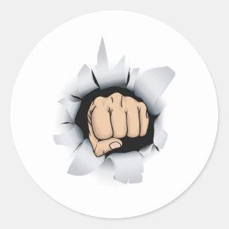 fist illustration round sticker