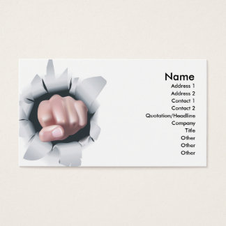 Fist punching high impact design business card