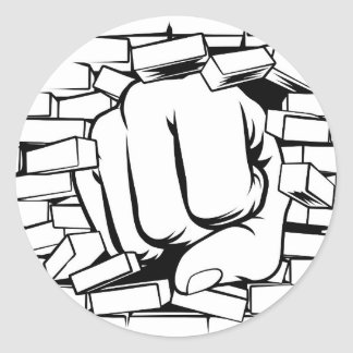 Fist Punching Through Brick Wall Classic Round Sticker