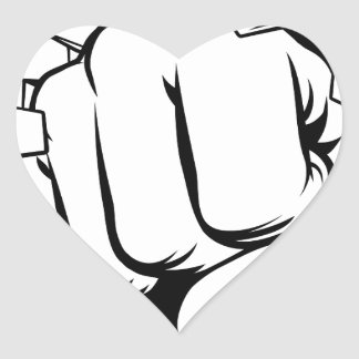 Fist Punching Through Brick Wall Heart Sticker