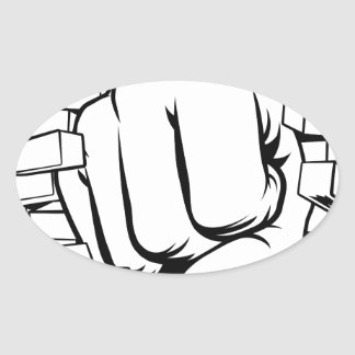 Fist Punching Through Brick Wall Oval Sticker