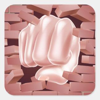 Fist Punching Through Brick Wall Square Sticker