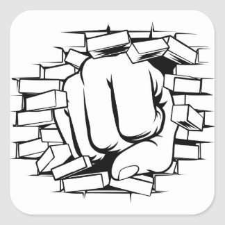 Fist Punching Through Brick Wall Square Sticker