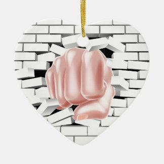 Fist Punching Through White Brick Wall Ceramic Heart Decoration
