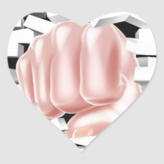 Fist Punching Through White Brick Wall Heart Sticker