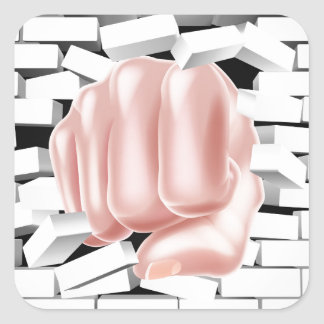 Fist Punching Through White Brick Wall Square Sticker
