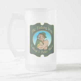 Fisting Irish Frosted Glass Mug
