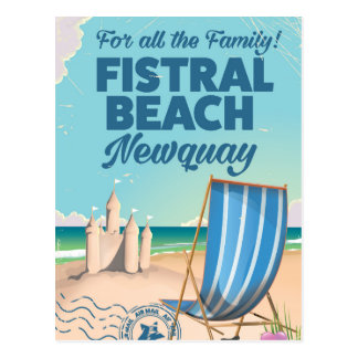 Fistral Beach Newquay Vintage travel poster Postcard