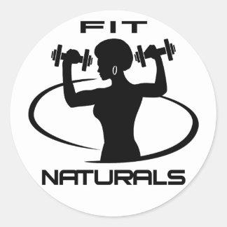 Fit Naturals - Black Logo Round Sticker
