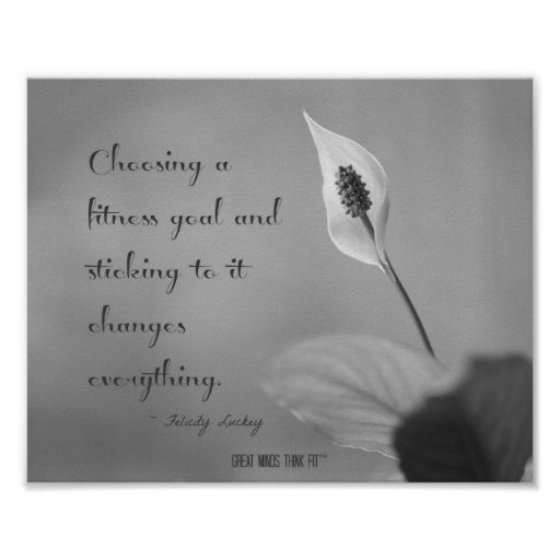 Fit Peace Lily in Shades of Grey Poster