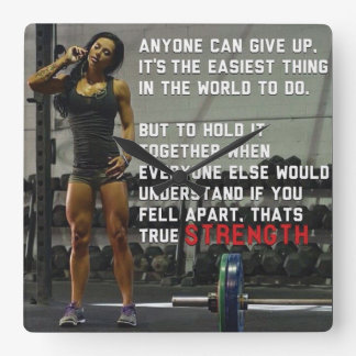 Fitness and Gym Motivation Square Wall Clock