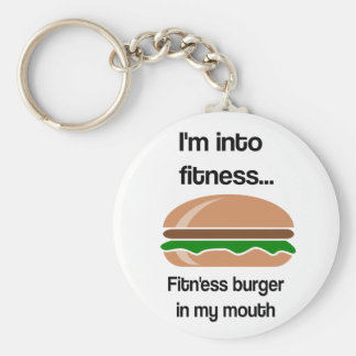 Fitness Burger Funny Quote Basic Round Button Key Ring