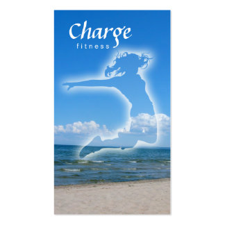 Fitness Business Card w/ beach & blue sky