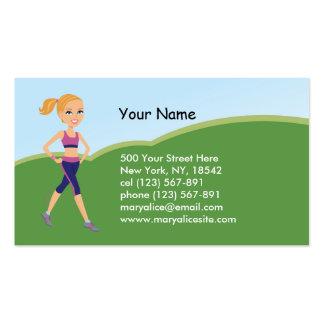 Fitness Girl Cartoon Business Card Template