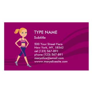 Fitness Girl Cartoon Business Cards
