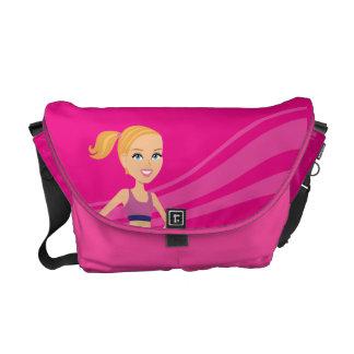 Fitness Girl Cartoon Messenger Bag