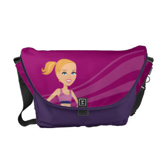 Fitness Girl Cartoon Messenger Bag