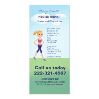 Fitness Girl Cartoon Personalised Rack Card