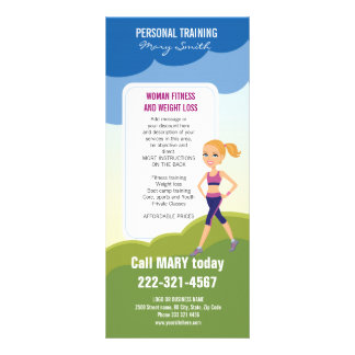 Fitness Girl Cartoon Personalized Rack Card