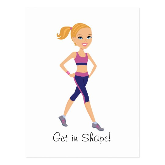 Fitness Girl Cartoon Postcard