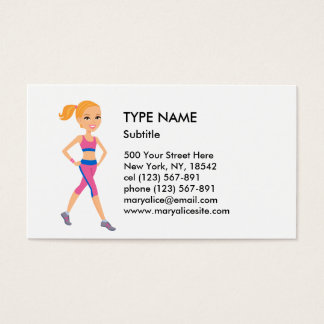 Fitness Girl Cartoon Style 1 Business Card