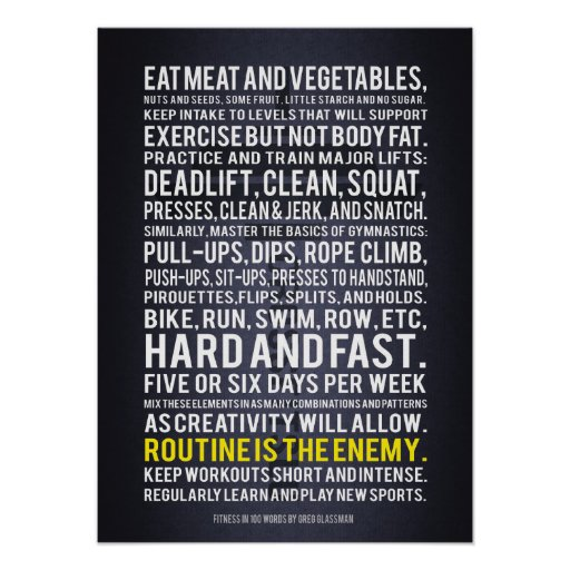 Fitness In 100 Words - Motivational Gym Poster