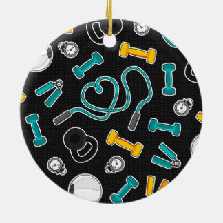 Fitness Love Pattern Aqua and Yellow Round Ceramic Decoration