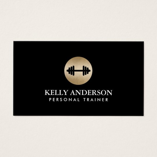 Fitness Personal Trainer Classy Black & Gold Business Card