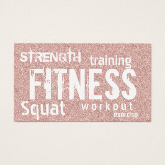 Fitness Personal Trainer Rose Gold Glitter Loyalty Business Card