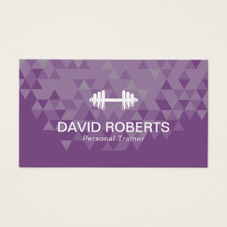 Fitness Personal Trainer Trendy Geometric Purple Business Card