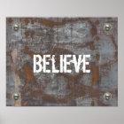 "Fitness Trainer ""Believe"" Rusty Metal Motivational Poster"