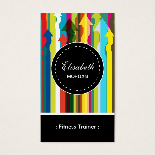 Fitness Trainer- Colourful Stripes Pattern Business Card