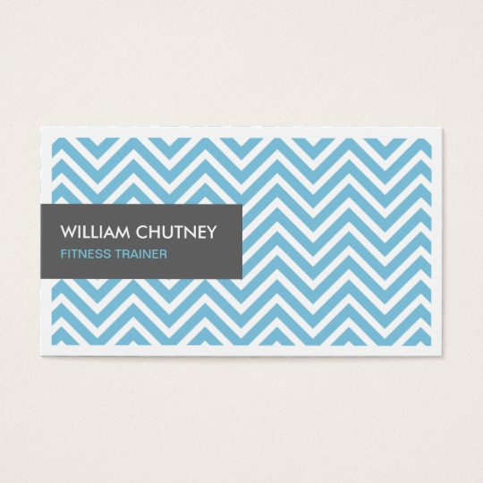 Fitness Trainer - Light Blue Chevron Zigzag Business Card